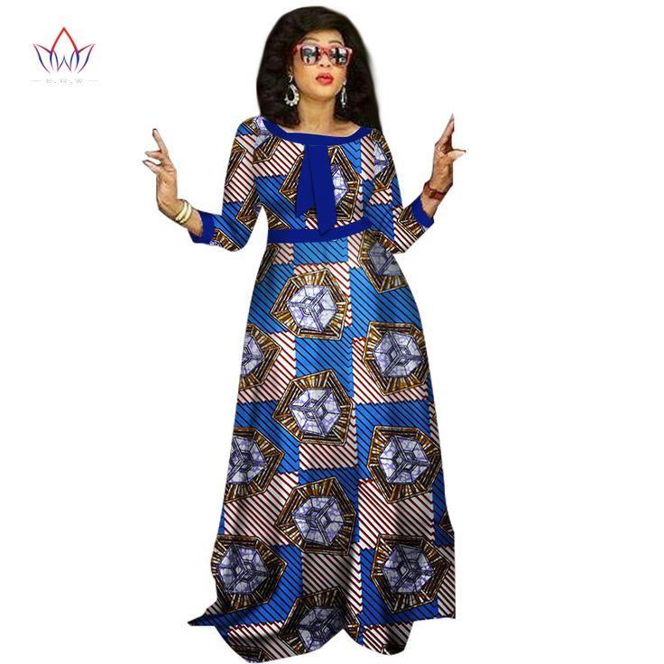 2017 gaun african untuk wanita Desain Fashion wanita dashiki bazin riche o-neck long dress WY1236 dashiki plus ukuran 6xl alami