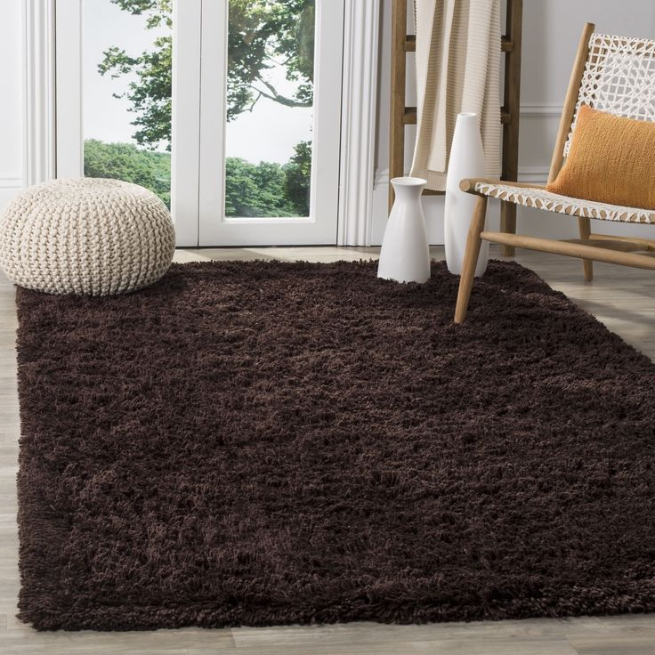 Safavieh Classic Ultra Handmade Chocolate Brown Shag Rug (7' Square), Size 7' x 7' (Acrylic, Solid)