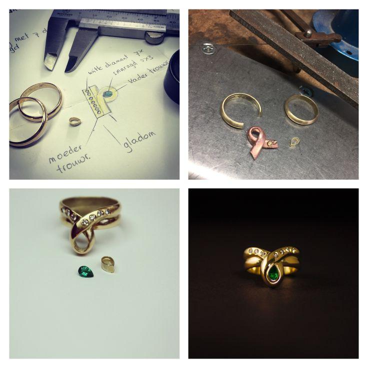 Prachtig cadeau van lieve man aan zijn vrouw, ze zijn morgen 50 jaar getrouwd...#alsjevanelkaarhoud #herinneringen #sieraden #goudsmid #ifyouloveoneanother #handmadejewelry #goldsmith #smaragd #diamant #diamonds #emerald #naturaltreasures #dutchdesign #jewelry #juwelen