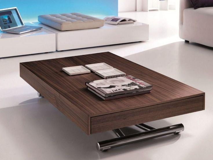 höhenverstellbarer rechteckiger Holz-Couchtisch