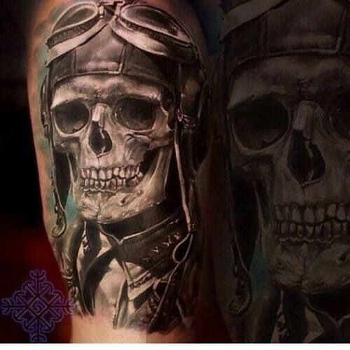 Excellent pilot skull   Ink   Pinterest   Skull tattoos ...