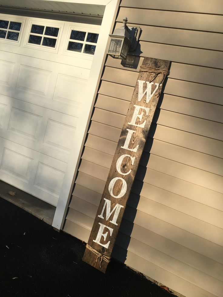 Welcome Tall Distressed Wood Sign