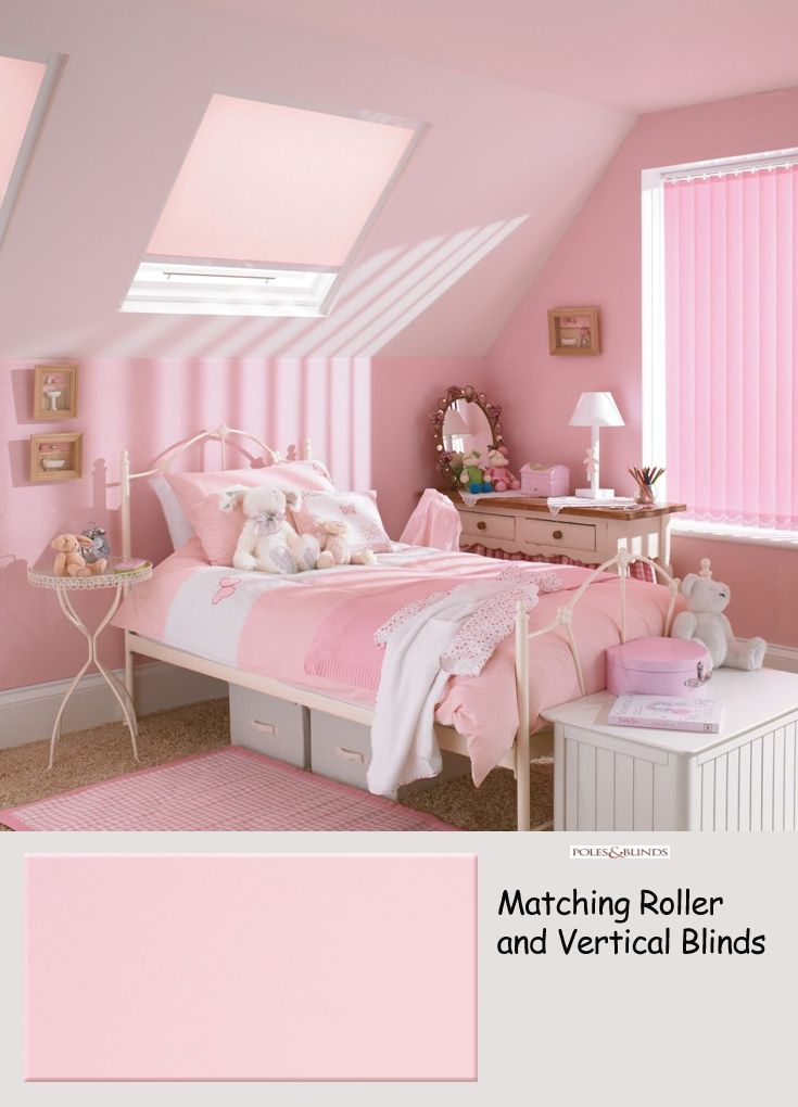 Pink blinds are perfect for bedroom windows for girls from 0 to 100. From £35  Online at www.polesandblinds.com/memphis-baby-pink-vertical-blind-blackout/  #interiordesign #bedroomblinds #homedecor #childrensrooms