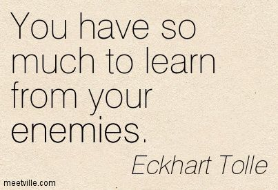 You have so much to learn from your enemies. Eckhart Tolle