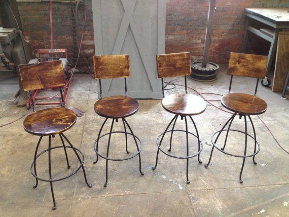 Swivel Bar Stools Steel U0026 Wood Counter By Hammeredintime On Etsy