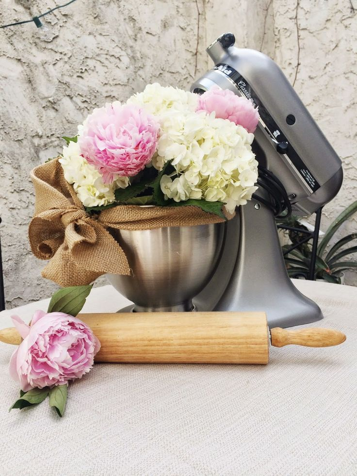 bridal shower gift idea flower bouquet in kitchen aid mixer someone do this for