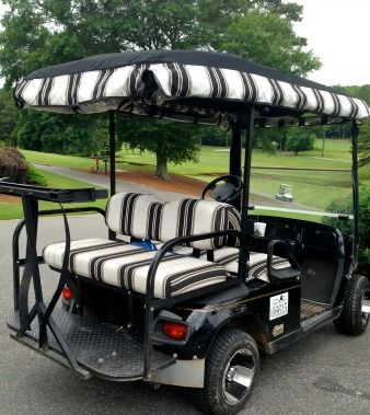 Get matching Sunbrella golf cart seat covers and enclosure valence for a coordinated look.