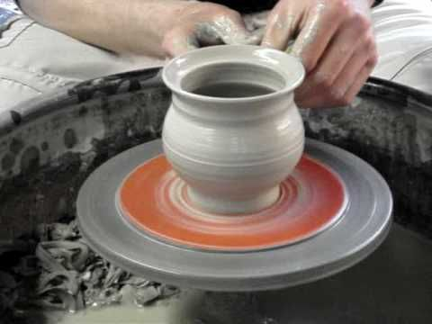 Making a clay pottery honey pot / mustard pot and lid on the wheel demo ingleton pottery how to - YouTube