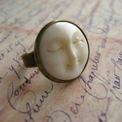 Bone Moon Face Antique Brass Ring - Serenity Moon Ring