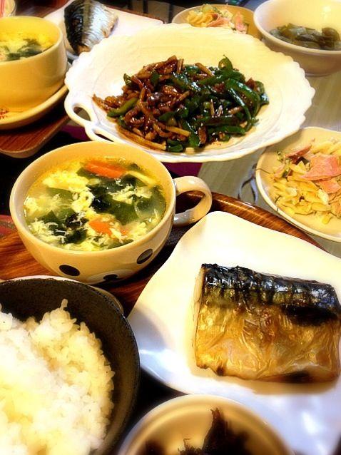 チンジャオロース、塩サバ、マカロニサラダ、中華玉子スープ! いただきます! - 4件のもぐもぐ - 和洋中!なんでもメニュー♪ by yuko