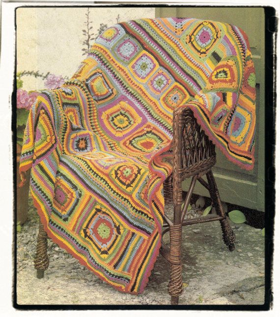 Instant Download PDF Vintage Seventies Crochet Pattern to make a Sampler Patchwork Carnival Mulitcolour Granny Squares Afghan Throw Blanket