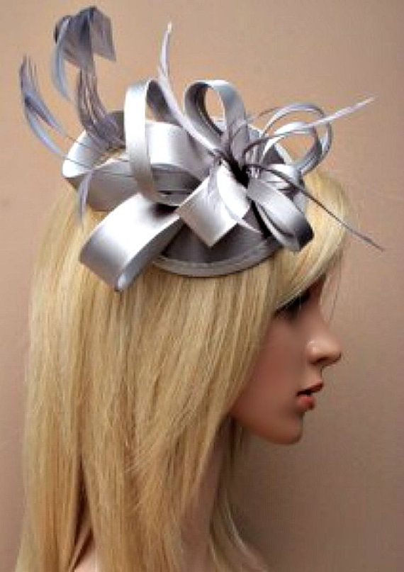 Silver Grey Fascinator. Flower Feather Beaded by Lillianerose