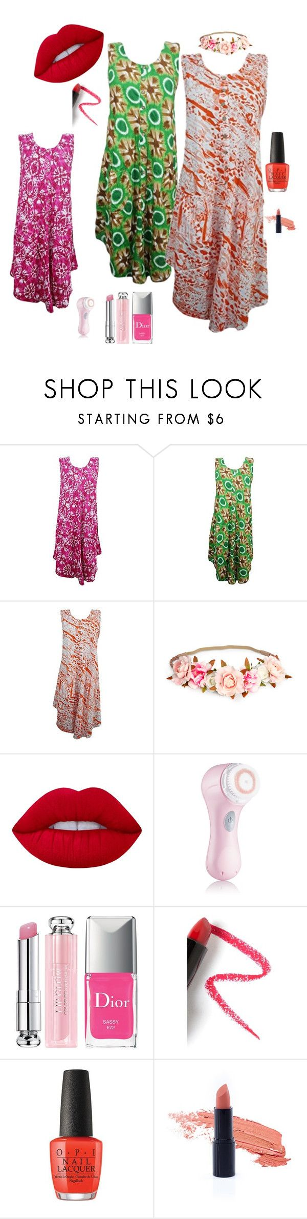 """Beach Dress"" by tarini-tarini ❤ liked on Polyvore featuring Lime Crime, Clarisonic, Christian Dior, Lapcos, gift, dress, beach, hippie and sale"