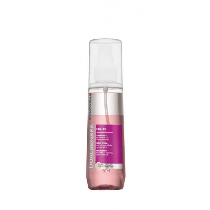 GOLDWEL DUALSENSES COLOR SERUM SPRAY Serum Spray voor normaal tot fijn gekleurd haar. Intensiveert de kleurbriljantie. Beschermt het haar tegen hitte. Biedt gewichtloze verzorging. ColorChromaComplex verrijkt met Granaatappel-essence, UV-filter en Instant Microfluid Technology.