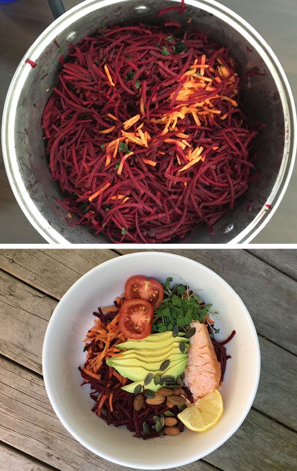 Claire Turnbull's Carrot and Beetroot Salad INGREDIENTS: 2 beetroot peeled and chopped · 6 carrots peeled · handful parsley DRESSING: ¼ c balsamic vinegar · 2 tbsp honey · Juice of 1 orange METHOD: Place the parsley into the food processor bowl, blitz until finely chopped. Remove chopper blade and add the coarse grating disc. on medium speed add the carrots, and beetroot until all the vegetables have been grated. Turn onto a platter, mix the dressing ingredients, pour over the salad.