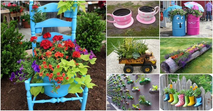 226 best images about creative planters on pinterest for Garden ideas using recycled materials