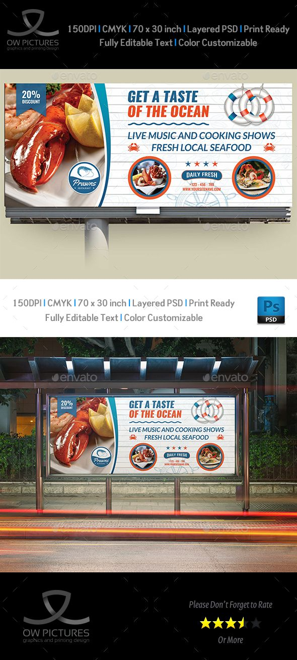 Seafood Restaurant #Billboard Template - Signage Print Templates.Download here: https://graphicriver.net/item/seafood-restaurant-billboard-template/17098951?ref=arroganttype