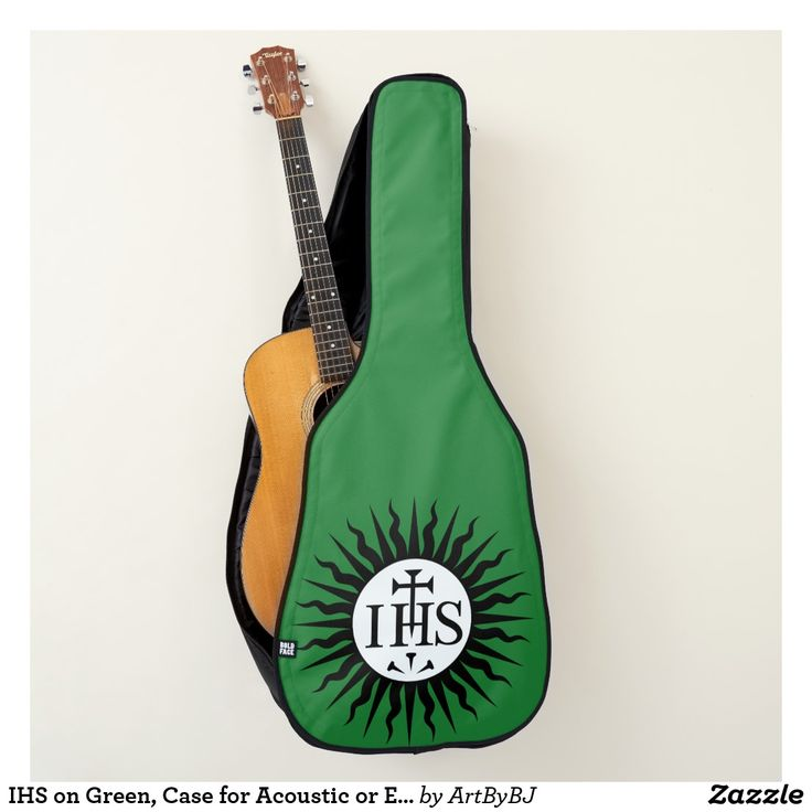 Great NEW Range of Cases for Electric Guitars, &  ALSO Acoustic Guitars – -  See them ALL –   a Wonderful Birthday Present or Christmas Gift for your Musician, Guitar Player. -  This is  - IHS on Green, Case for Acoustic or Electric Guitar