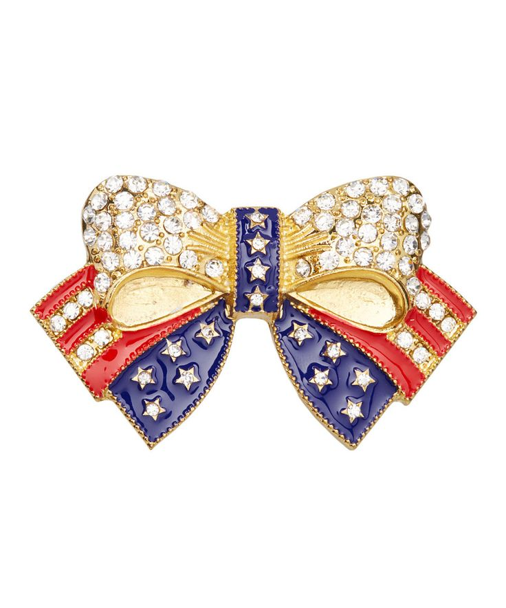 Take a look at this Frankie & Stein Red, White & Blue Rhinestone Bow Brooch today!