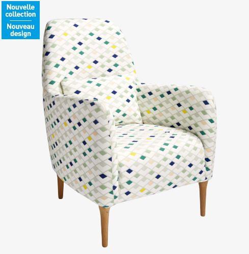Fauteuil habitat achat daborn fauteuil en tissu blanc motifs japon habitat - Fauteuil tissu blanc ...