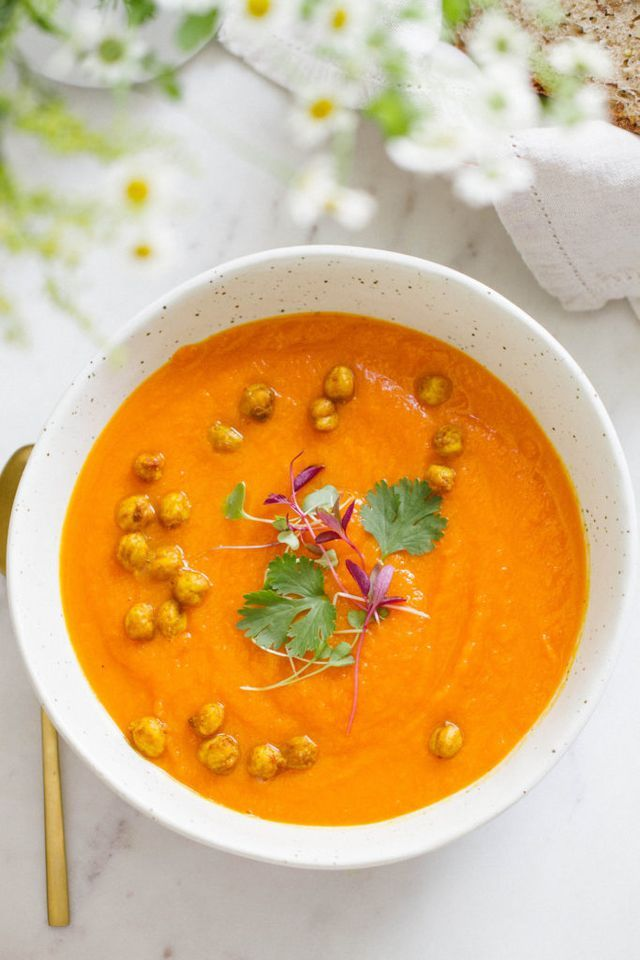The weather has slightly cooled making soup a perfect way to nourish the day. Filled with carrots, sweet potato, coriander, and topped with flavorful roasted chickpeas, it's a simple soup that will wa