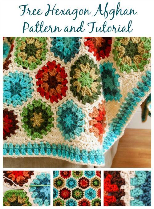 Crochet Hexagon Afghan Pattern and Tutorial #crochet #afghan