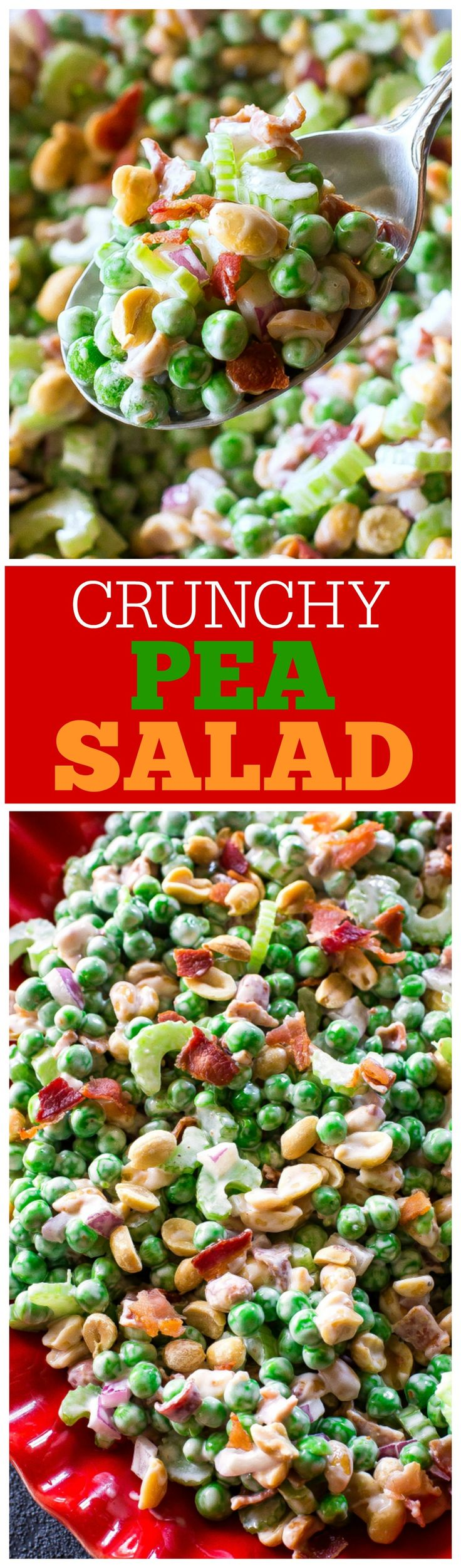 Crunchy Pea Salad - I know it sounds weird but trust me, it's good! Peas. nuts, bacon, celery...all for a refreshing salad. the-girl-who-ate-everything.com
