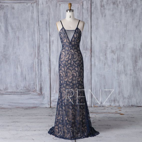 2017 Navy Lace Bridemsaid Dress Long Sexy V Neck Mesh by RenzRags