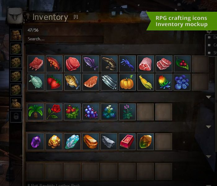 RPG Crafting Icon set mock up inventory