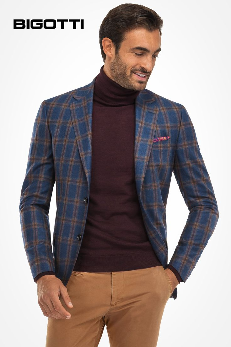 A #staple for #every #modern #man's #wardrobe, the #plaid #blazer is #perfect for #wearing with #tailored #trousers, #shirt and #tie, but also with #jeans or #chinos and #rollneckjumper.  www.bigotti.ro #Bigottiromania #mensfashion #OOTD #moda #barbati #sacouri #carouri #menswear #mensstyle #mensclothing #stylingtips #follow #fashiontag