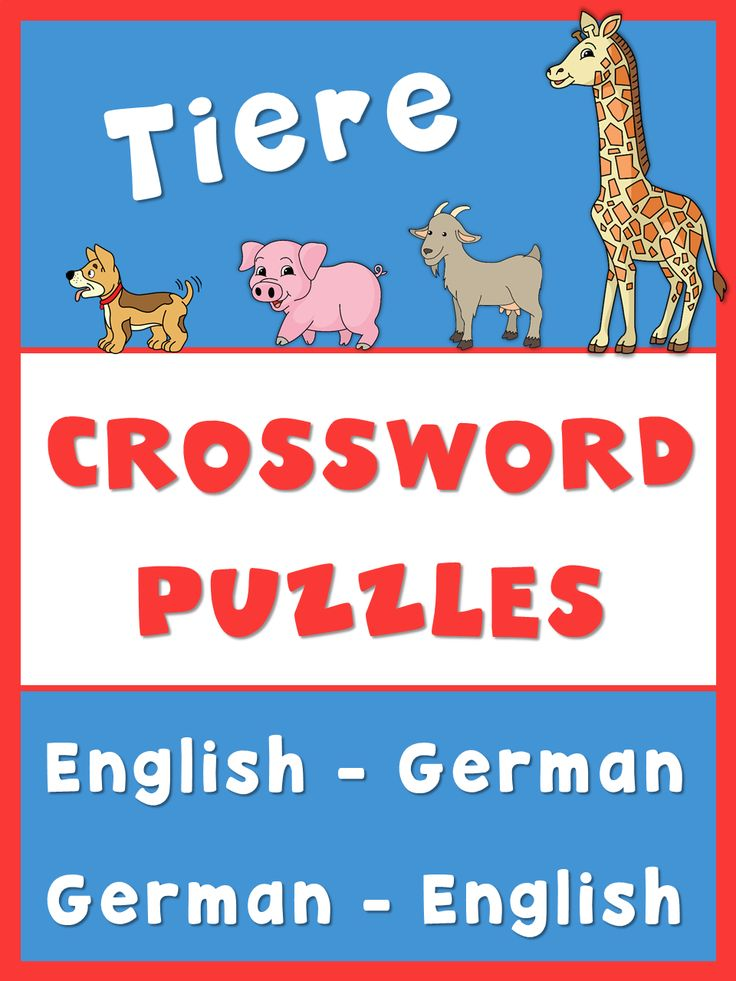 German English crossword puzzles. This set has 4 different crossword puzzles with English words that students have to translate in German to solve the crossword puzzles. It has 4 more puzzles with German words that have to be translated in English to solve the crossword puzzles. Each puzzle has 10 animals for pets, farm animals, zoo animals and forest animals. I have included all answer keys.