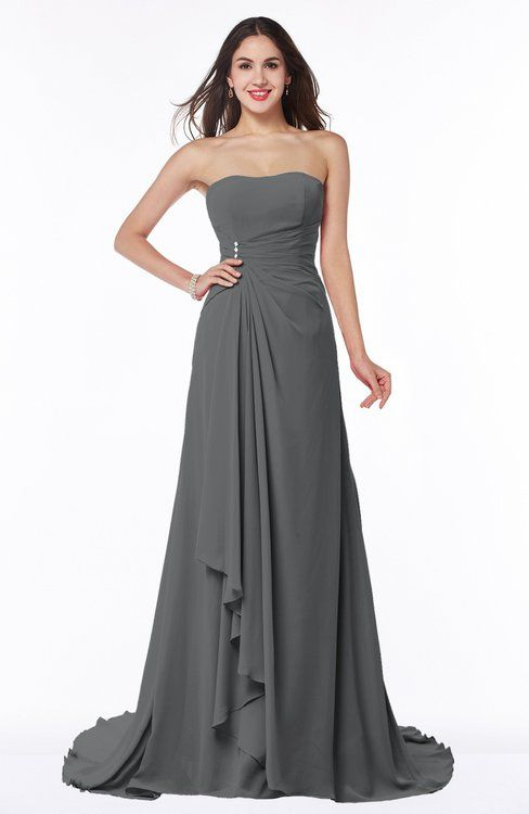 Traditional A-line Strapless Lace up Chiffon Brush Train Plus Size Bridesmaid Dresses