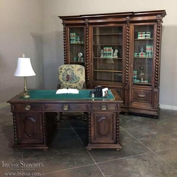 Antique Furniture | Antique Desks & Secretaries | 19th Century French Henri II Walnut PARTNER'S Desk | www.inessa.com