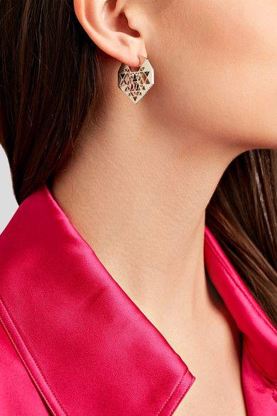 Noor Fares - Chandbali 18-karat Gray Gold Multi-stone Earrings - one size