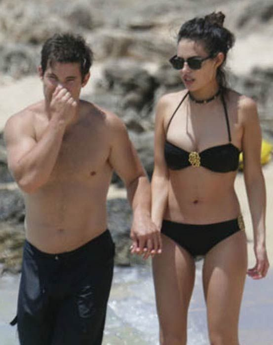Adam DeVine with girlfriend at a Hawaii beach in May 2015...