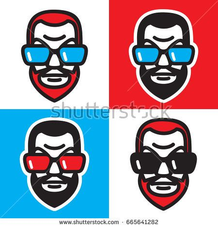 Man head with a beard and big sunglasses. Vector graphic illustration