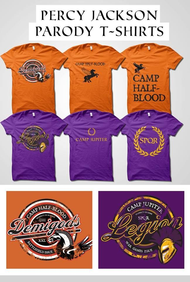 New Percy Jackson / Heroes of Olympus parody t-shirts! Whether you're a Camp Half-Blood demigod or a Camp Jupiter Legion soldier, you can rep your team with pride!