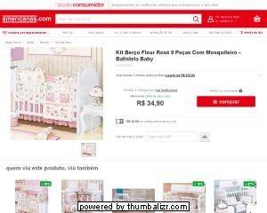 [MARKETPLACE/AMERICANAS] Kit Berço Fleur Rosê Americano com Mosquiteiro 9 Peças - R$ 34,90