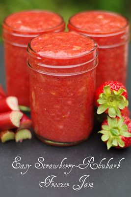 Within the Kitchen: Easy Strawberry Rhubarb Freezer Jam  (going to try with 3/4 the amount of sugar she uses, or no sugar, or just a little agave. Really want a no sugar added jam for the family)
