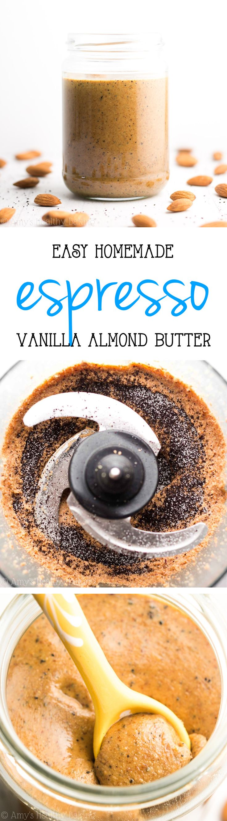 Homemade Vanilla Espresso Almond Butter Recipe -- you just need 4 ingredients & 10 minutes! So easy & half the price of store-bought!