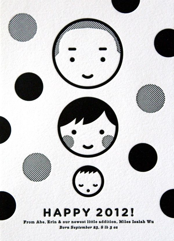"""""""A simple black and white letterpress card to welcome a new year and a new baby into our lives."""""""