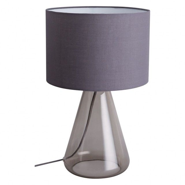 The Large Deal Smoked Glass Table Lamp With Grey Shade Is A Timeless Mouth Blown Design That Makes A Chic Addition To A Sit Smoked Glass Lamp Glass Table Lamp