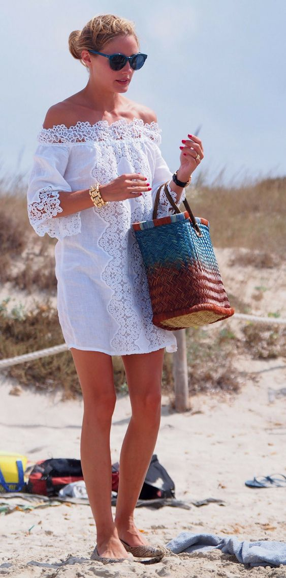 Olivia Palermo Beach Style #white #lace #coverup