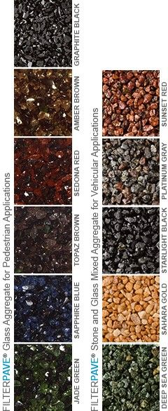 Porous pavement in different colours that let rain water soak into the ground