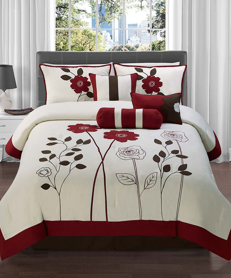 Red Adrienne Comforter Set- I have this in black wish mine was red now...  I put Red accents with it tho!!!