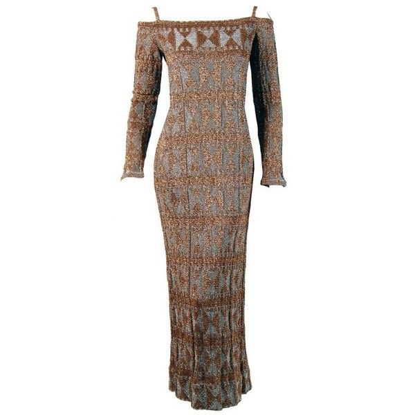 Preowned 1960's Rudi Gernreich Metallic Gold Silver Geometric Knit... ($1,400) ❤ liked on Polyvore featuring dresses, gowns, 60s dresses, robes, brown, evening gowns, cut out shoulder dress, bodycon dress, silver gown and brown bodycon dress
