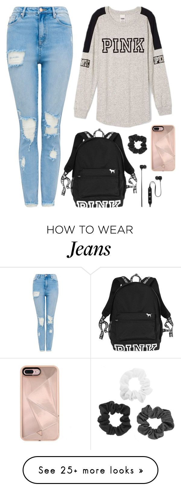 """i was wearing my ripped jeans and my pink shirt..."" by at-39thst-fashion on Polyvore featuring Victoria's Secret, Victoria's Secret PINK, Rebecca Minkoff, Polaroid and pinkvs"