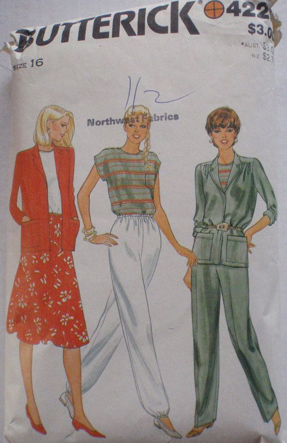 Women's Separates Sewing Pattern - Unlined Jacket, Top, Flared Skirt and  Straight Legged Pants - Butterick 4229… | Womens separates, Flare skirt,  Loose fitting tops