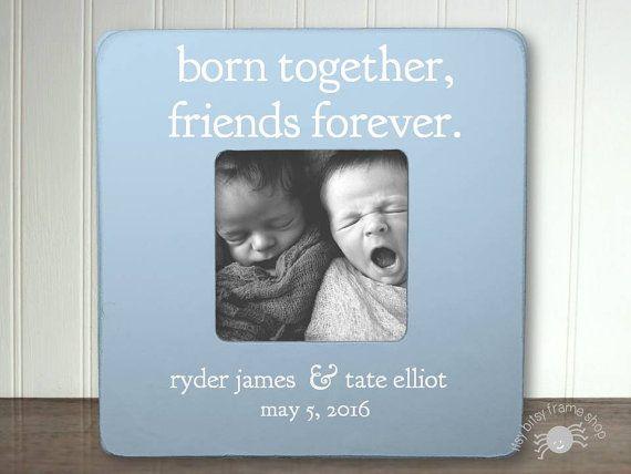 Jumeaux bébé cadeau nouveau cadeau double cadre garçon jumeaux fille jumeaux cadeau de bébé pour jumeaux cadre pour jumeaux jumeaux nés nouveaux amis ensemble pour toujours IB + FS