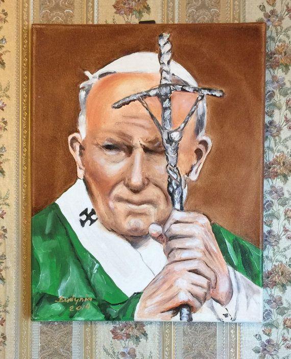 Pape Jean PAUL II à la main huile peinture 11 « x 14 »